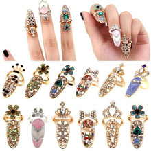 Fashion Rhinestone Cute Bowknot Finger Nail Ring Charm Crown Flower Crystal Female Personality Nail Art Rings Dia 13mm
