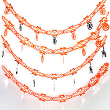 4Pcs Lengthen Paper Chain Garland Pumpkin Halloween Decoration Ornament Party Halloween Props Outdoor Paper Pull Flowers Banners