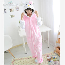 Hello kitty Cosplay onesies Pajamas Cartoon Animal costume Pyjamas Adult Onesies party dress Halloween pijamas(China)