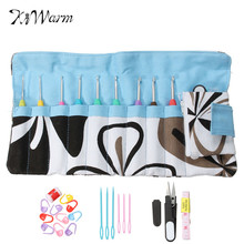 Durable 28Pcs/Set Mixed Metal Hook Crochet Kit with Storage Bag Aluminum Knitting Needles Crochet Markers Loom Tool DIY Crafts