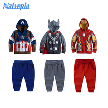 Kids Clothes Spiderman Ironman Batman Children Clothing Sets Baby Boys Clothes Kids Sport Sets Long Sleeve Toddler casual wear