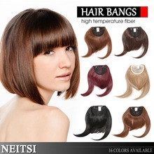 Neitsi Synthetic Clip In Hair Bangs Extensions Natural Straight Fashion Fringe Wig High Quality 18Colors For Women Fast Shipping