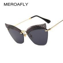 4bb2db36f2ec6 MEROAFLY Sem Aro Olho de Gato Óculos De Sol Das Mulheres Designer de Marca  de Luxo Strass óculos de Sol para As Mulheres Retro U..