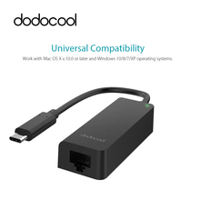 dodocool USB 3.1 Type-C Gigabit Ethernet Adapter USB-C to RJ45 Lan Network Card Adapter 10/100/1000 for Mac OS X Windows Systems(China)