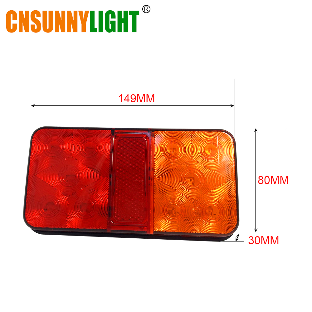 CNSUNNYLIGHT LED Car Truck Stop Rear Tail Brake Reverse Light Turn Indiactor 12V 24V ATV Trucks Trailer Lamps Tailight Assembly (6)