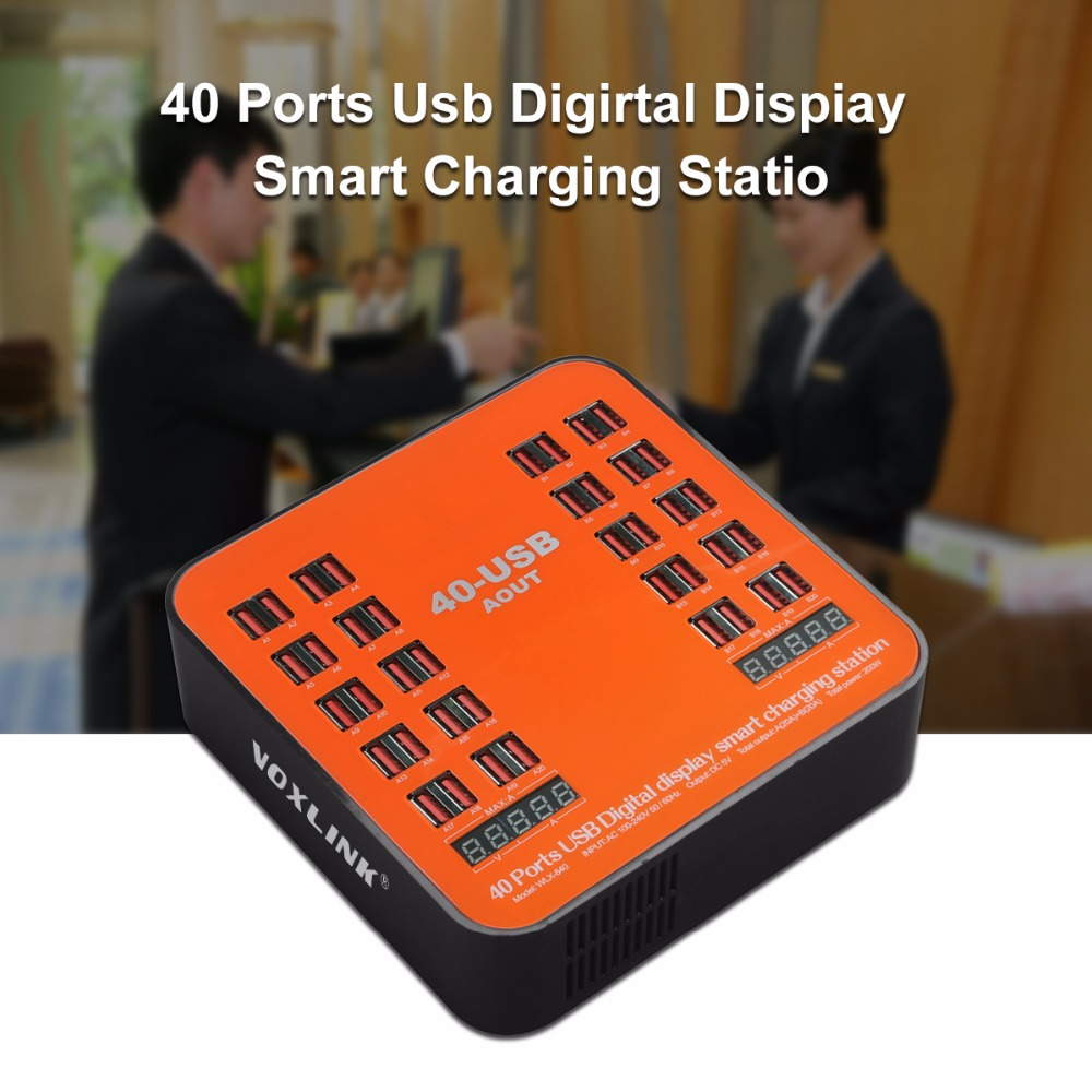 VOXLINK Universal Multi USB Charger 200W 40A 40 Port USB Charging Dock with LCD Display for Apple iPhone iPad Samsung Tablets