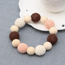 Baby Wooden Crochet Nursing Toy Teething Bead Colorful Bracelet Hand Made -B116(China)