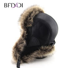 BFDADI Hot Sale faux fur Ear Flaps Cap trapper snow ski snowboard warm winter aviator bomber hats caps women men Free Shipping(China)
