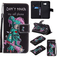 Colorful Pattern One eyed mouse Card Slot Wallet PU Leather Stand Flip Case Cover for Samsung Galaxy A5 2017