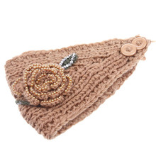 Newly Design Women Bead Accessories Flower Headband Knit Winter Headwrap Ear Warm Hairband May11