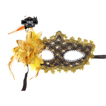 Floral Pattern Venetian Masquerade Ball Mask Flower Feather Princess Mask Fancy Dress Halloween Party Costume Lace Eye Masks(China)