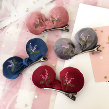 Velvet embroidery rabbit ears hair clip duckbill clips side hair accessories bowknot hairpin for women headdress hair ornaments(China)