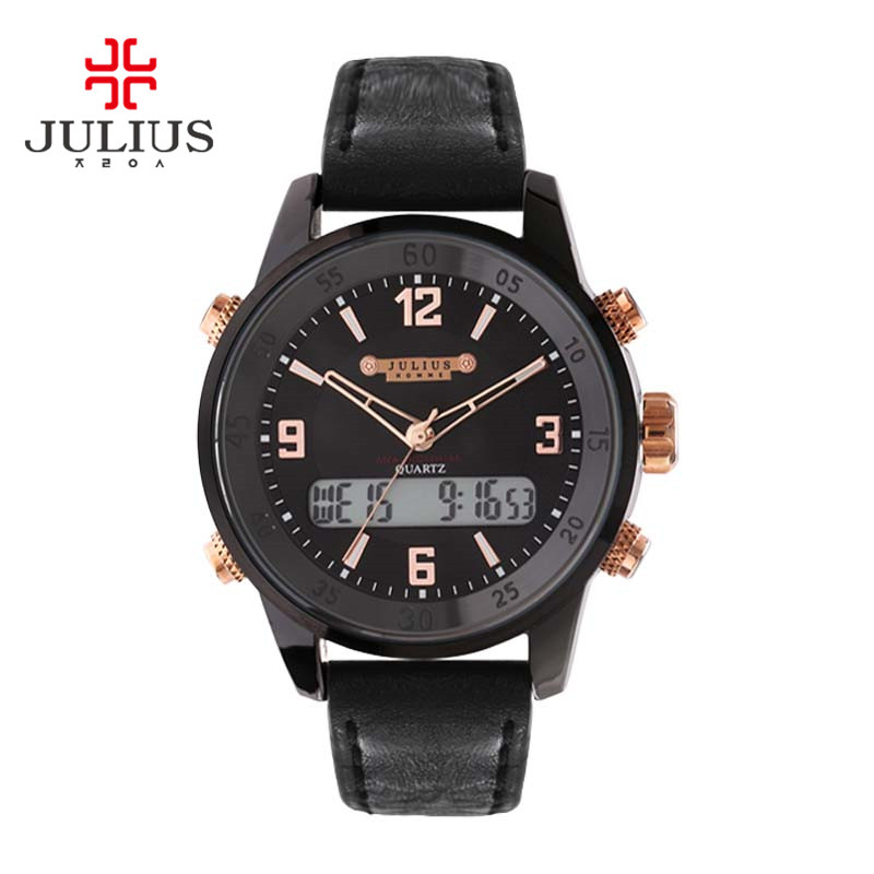 Julius Mens Homme Digital Alarm Wrist Watch Fashion Hours Date Dress Sport Retro Leather Boy Birthday Christmas Fathers Gift<br>