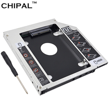 "CHIPAL Aluminum Alloy SATA to IDE 2nd HDD Caddy 12.7mm for 2.5"" SATA 3.0 SSD HDD Case Enclosure for Notebook DVD ROM Optical Bay(China)"