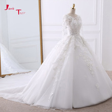 Buy Jark Tozr Custom Made Chapel Train Gorgeous Wedding Gowns 2018 Beading Pearls Appliques Flowers Bridal Dress Vestido De Noiva for $241.26 in AliExpress store