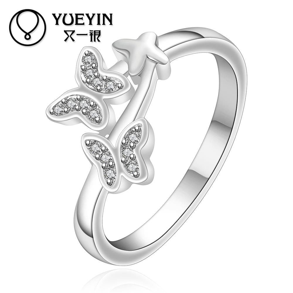 R655 2015 silver plated Han edition fashion accessories butterfly bright ring hot sale(China (Mainland))