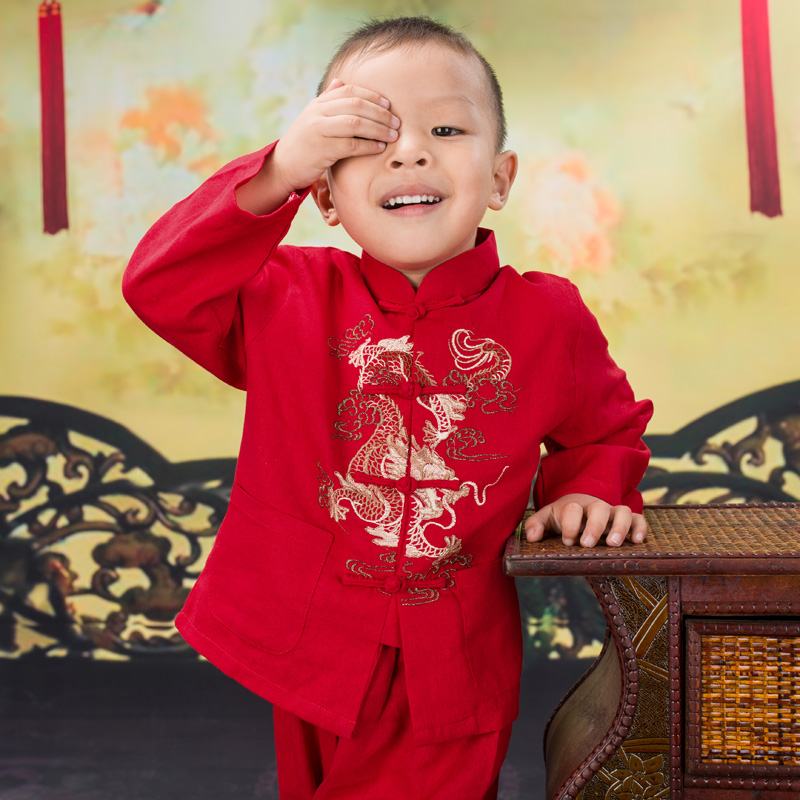 Autumn Spring Cotton Colorful Chinese Retro Style Dragon Embroidered Tang Suits Gongfu Show Stage National Boys Sets<br><br>Aliexpress