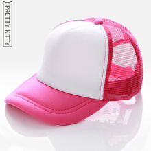 PRETTY KITTY customize the printing logo New Fashion Children Mesh Kids Baseball Cap Boy Girl Summer Mesh Sun Hat