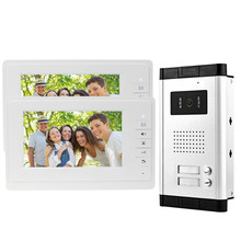 New brand 7'' color video door phone intercom system with outdoor camera with two buttons for multi apartment Free shipping