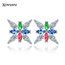 XOWSHINE 5 Pairs 2 Color Flower Stud Earrings Women Crystal Zirconia Claires Stone Hanging Earrings 11 Plated Brincos