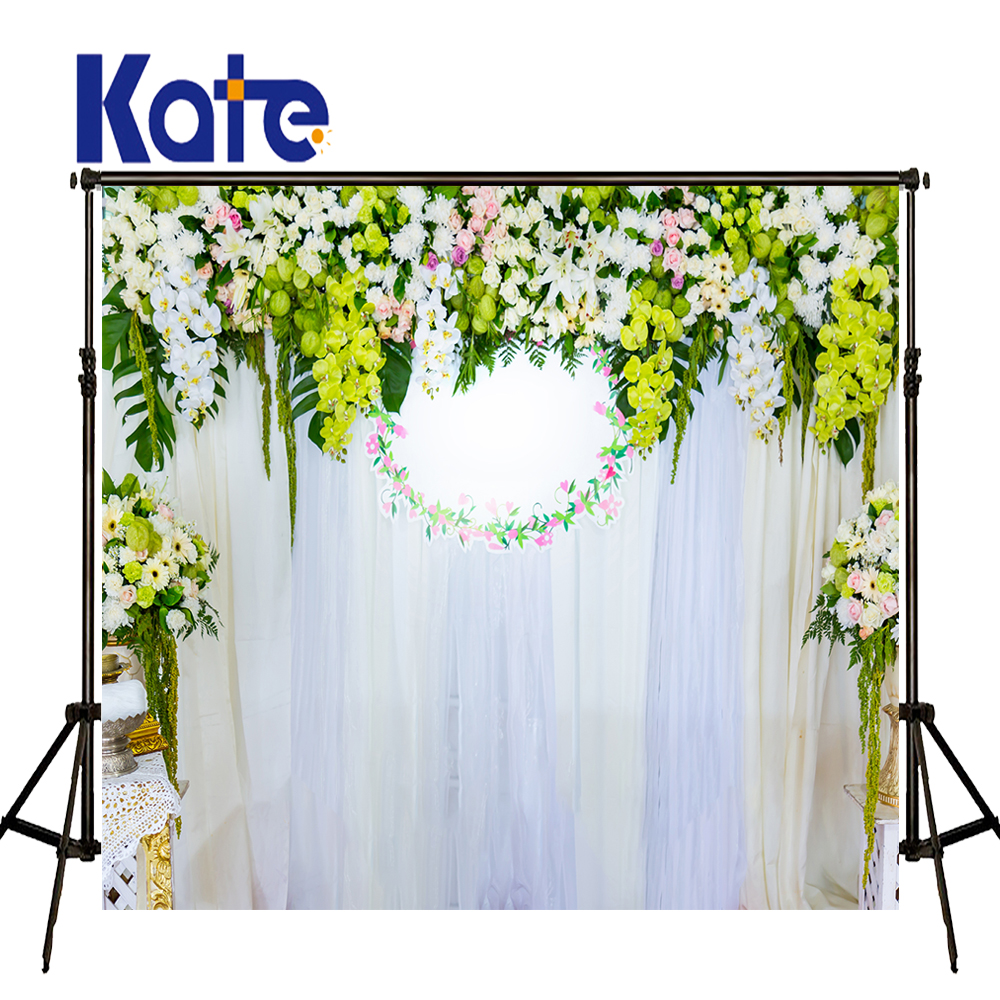 KATE Photography Backdrops 10X20 Backdrop Wedding Photography Backdrops Flower White Curtains Indoor White Backdrop for Studio<br>