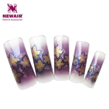 New Fall Style Elegant Flowers Pattern Colorful Glitter Pre Design Airbrush Nail Tips Designer Flase Nail Art Tips wholesales