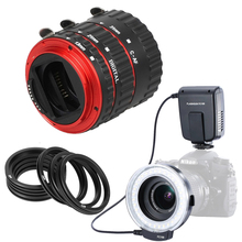 Meike FC100 LED Macro Ring Flash Light FC-100 + Red Metal Mount Auto Focus AF Macro Extension Tube Ring Lens Adapter For Canon(China)
