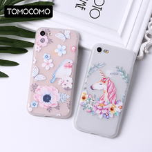 TOMOCOMO Floral Rose Flowers Cute Unicorn Pattern Soft Transparent Silicon Printed For iPhone 5 6 6Plus 7 7Plus 8 8Plus X Fundas(China)