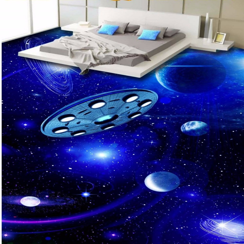 Free Shipping aesthetic space flying saucer planet 3D stereo floor painting wallpaper waterproof non-slip flooring mural<br>