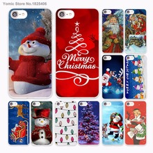 Merry Christmas New Year Santa Claus snowman Design hard White Skin Case for Apple iPhone 6 6s Plus 7 7Plus SE 5 5s 5c 4 4(China)