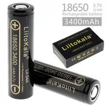 LiitoKala 2pcs 18650 3400mAh 3.7V Rechargeable Li-ion Battery with Safety Relief Valve for Flashlights Headlamps Bicycle lamps(China)