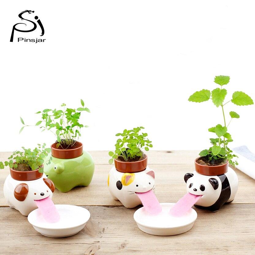 Free shipping peropon drinking animal planter cute animal tongue flower pot ceramic self