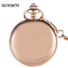 2017 hot sale Luxury Fullmetal Polish Pocket Watch Pendant Necklace Chain Rose Gold Quartz Fob watches Gift Relogio De Bolso