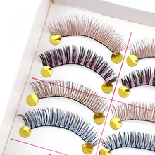 2017 10 Pairs High Quality Hand Made Different Colorful Fake Eyelashes Thick False Eyelashes For Makeup Beauty Wedding Tools(China)