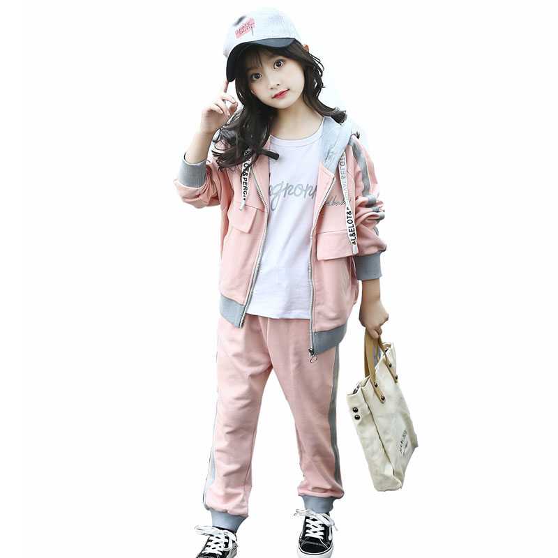 Girls Sport Suit For 2018 Girls Spring Clothing Set 2Pcs Hooded Coat+Pants Children Clothes Teens Tracksuits 4 6 8 10 12 Years<br>