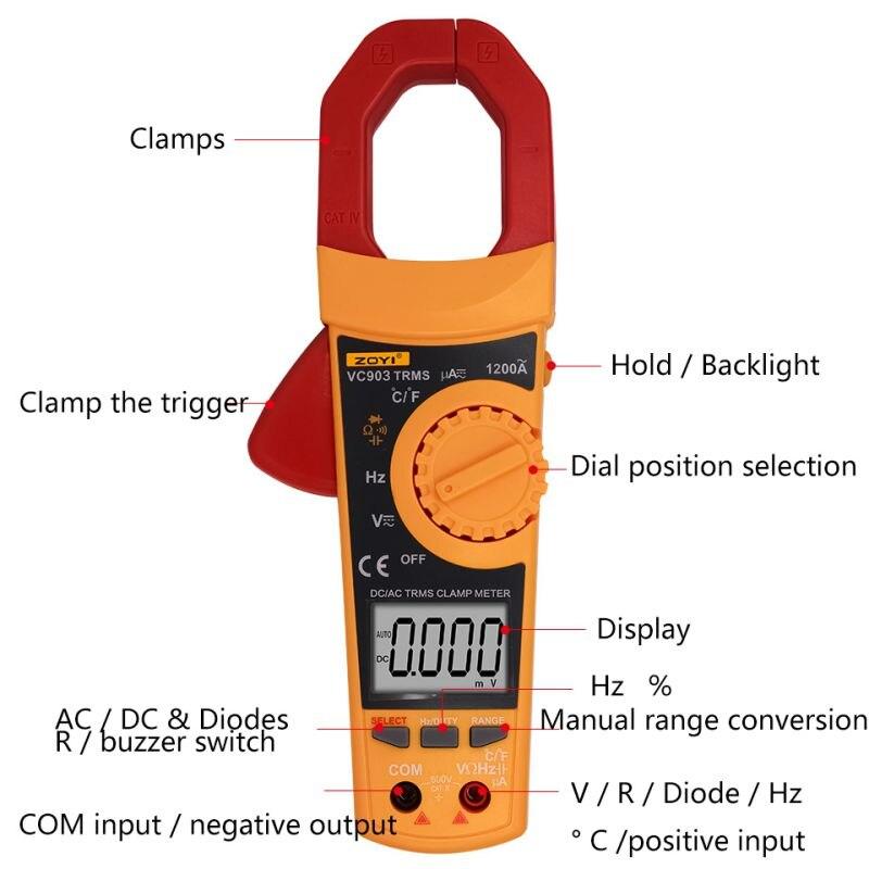 VC903 6000 Counts AC/DC Digital Multimeter Amper Clamp Meter Current Clamp Pincers Voltage Capacitor Resistance Tester<br>
