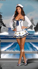 FREE SHIPPING Ladies 50s Navy Sailor Uniform Pin Up Rockabilly Fancy Dress Party Costume + Hat 8381 S,M,L,XL(China)