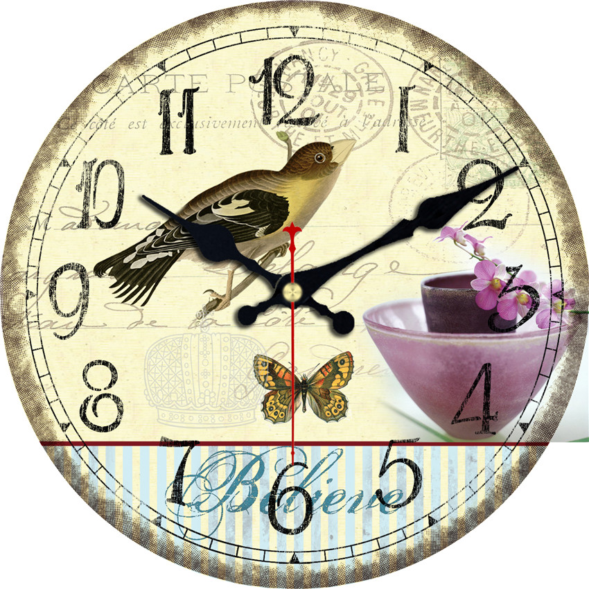 Birds Flower Design Wall Clock Cheap Relogio De Parede Large Silent For Living Room Saat Home Decoration Watch Wall Welcome Gift(China (Mainland))
