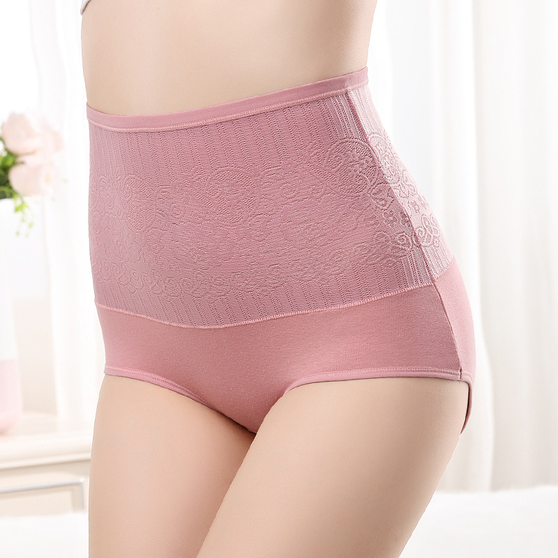 KJ015 Solid Cotton Women Slim Underwear Big Size Briefs High Waist Jacquard Intimates Female Sexy Lingerie Body Shaping Panties