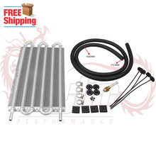Free Shipping 6 Row Aluminum 305X190X20 Universal Auto-Manual Radiator Converter/Car Transmission Oil Cooler Kit(China)