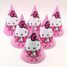 Free shipping 12pcs/lot Birthday party supplier Cute white cat HELLO KITTY theme party hat/cap cartoon paper cap(China)