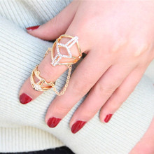New Beautiful Crystal Net Grid Hollow Out Ring Large And Long Gold Armor Ring Ladies Fashion Jewelry m1170(China)