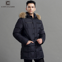 CITY CLASS Mens Winter Thick Warm Down Jacket True Raccoon Fur Fashion Long Coat Duck Down Stand Collar Removable Hood 13226(China)