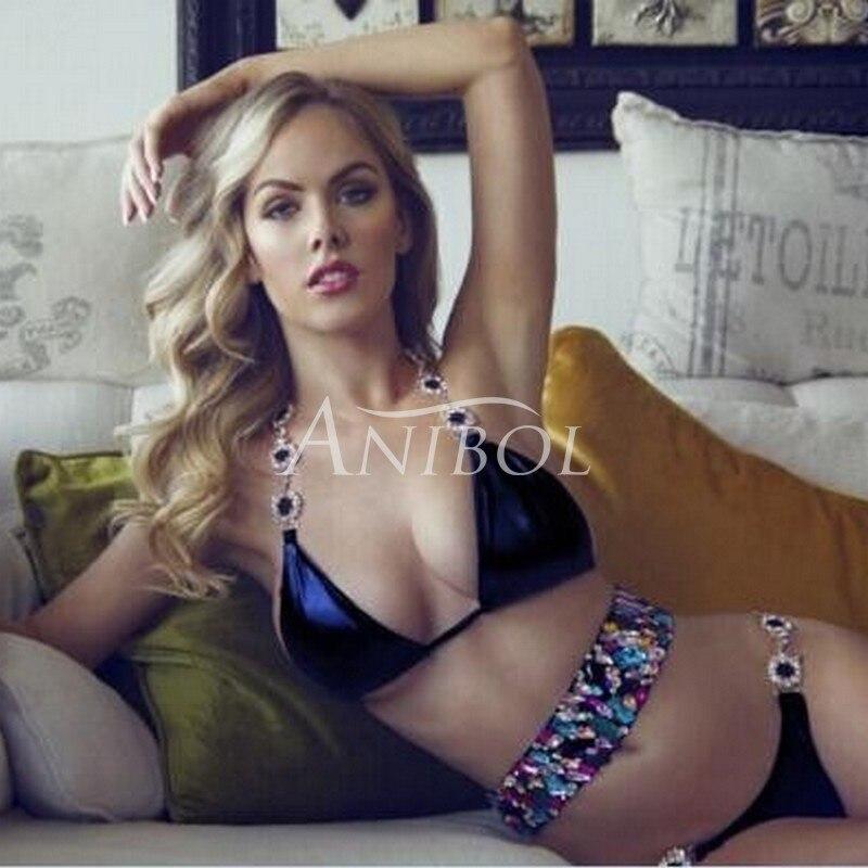 Anibol 2017 Sexy Diamond Bikini Luxury Crystal Rhinestone Swimsuit Push Up Padded Women Swimwear Bandeau Brazilian Bathing Suit <br>