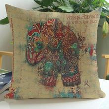 Manufacturers Direct Supply  New Ink Painting Elephant Short Soft Plush Decorative Throw Pillow Cushion For Home Chair