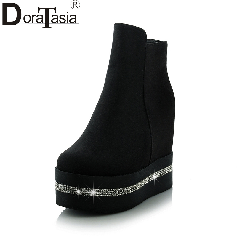 DoraTasia top quality platform ankle boots women shoes fashion height increasing high heels winter shoes woman boots<br>
