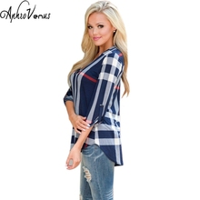 Plus Size 6XL Womens Blouse 2016 Autumn 3/4 Sleeve V-Neck Blue White Casual  Plaid Shirts Ladies Elegant Irregular Blusas