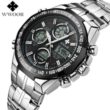WWOOR Top Brand Luxury Dual Display Men LED Sports Watches Men's Quartz Analog Clock Male Stainless Steel Military Wrist Watch(China)