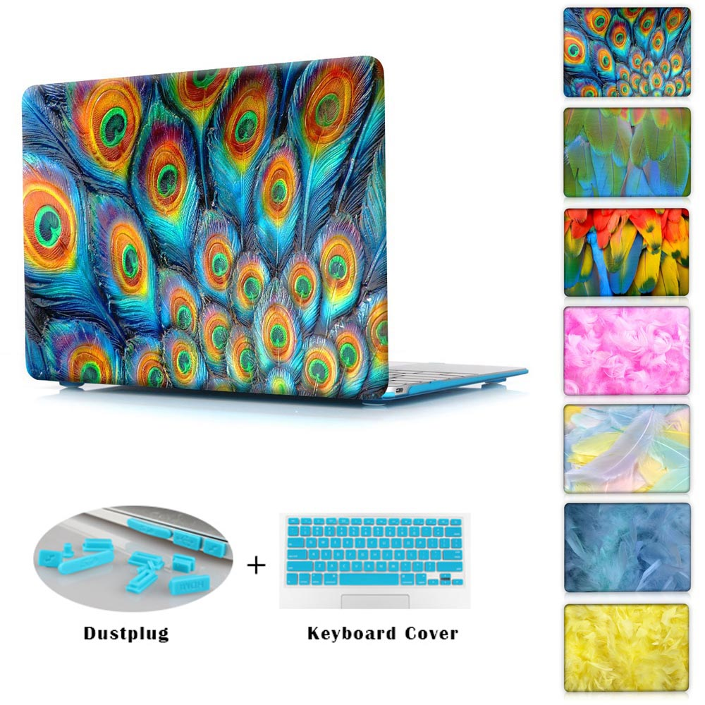 Air 11 13 Case Crystal Hard Sleeve Case For Macbook Pro 12 13 15 Retina Display Painted Peacock &amp; Colored Feathers<br><br>Aliexpress