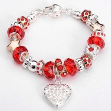 Factory Price hot sale  red beads with heart charms nice bracelet fashion women bracelet, fashion women's jewelry bracelet